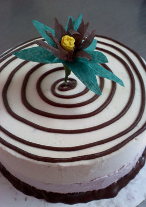 Handmade Paper Flowers Decorate our Ice Cream Cakes